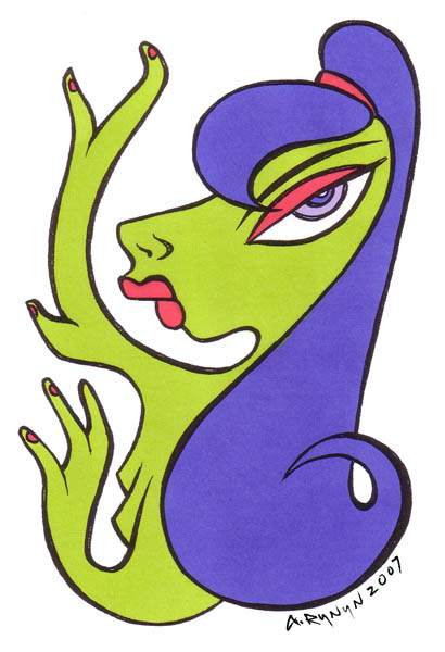 Greenskin Girl - Original Hand Coloured Illustration