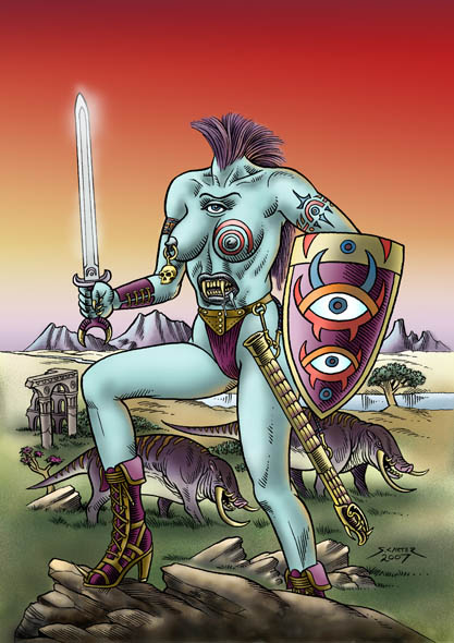 Blemyah Amazon Warrior - The Cover of Femonsters #10.