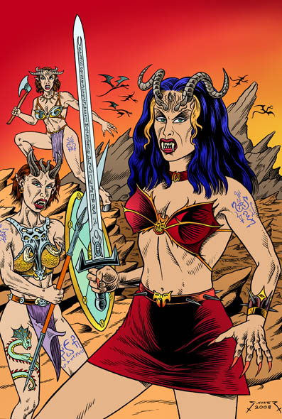 Hell Whores of Chaos - Front cover illustration for Fantastique #3 comic book.