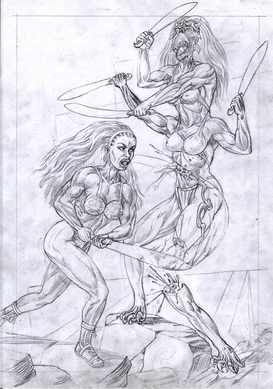 Pencils of Xarba, combating a sword-wielding Gror'gomi