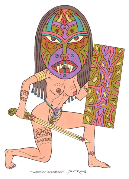 Warrior Priestess - Totemic warrior woman illustration