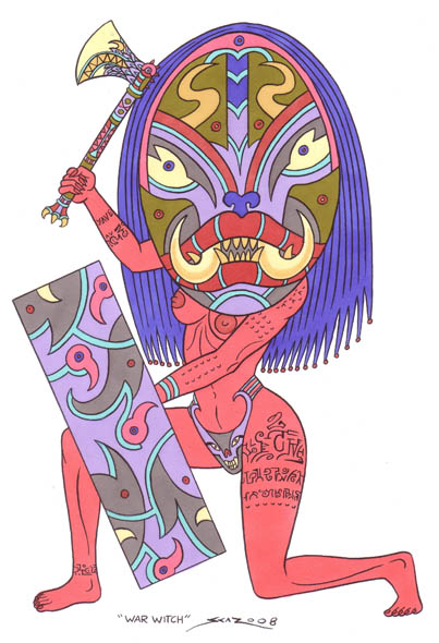 War Witch - Totemic warrior woman illustration